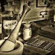 Apothecary-vintage Pill Roller Sepia Art Print