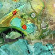 Aqua And Yellow Abstract Art - Juxtaposition - Sharon Cummings Art Print