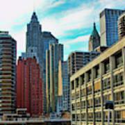 Architecture Nyc From Brooklyn Bridge  Art Print