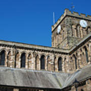 architecture of Hexham cathedral and clock tower Art Print