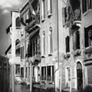 Architecture Of The Grand Canal Venice Italy Black And White Art Print