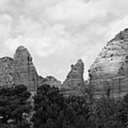 Arizona Mountain Red Rock Monochrome Art Print