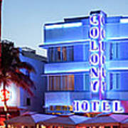 Art Deco Hotels On Ocean Drive At Dusk Art Print
