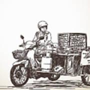 Asian Street Food On Motorbike, Hand Art Print