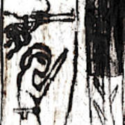 Assassin After Mikhail Larionov Black Oil Painting 10 Art Print