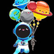 Astronaut With Planet Balloons Outta Space Art Print