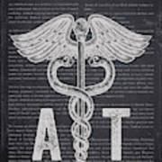 Athletic Trainer Gift Idea With Caduceus Illustration 02 Art Print