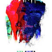 Atlanta Skyline Brush Stroke Watercolor   Art Print