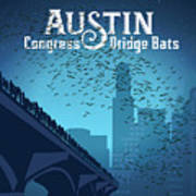 Austin Congress Bridge Bats In Blue Silhouette Art Print