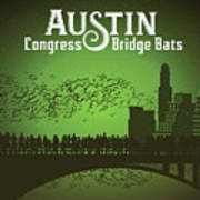 Austin Congress Bridge Bats In Green Silhouette Art Print