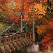 Autumn Across The Bridge  Art Print