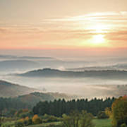 Autumn Foggy Sunrise Art Print