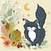 Autumn Garden Moonlit Kitty Cat Art Print