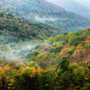 Autumn Hillsides With Mist Art Print