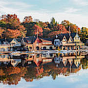Autumn Houses On The Water Art Print
