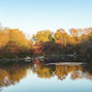 Autumn Mirror - Silky Wavelets Caused By Ducks Art Print