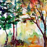 Autumn Trees Watercolors Art Print