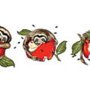 Baby Sloth Meets Apple Art Print