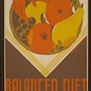 Balanced Diet For The Expectant Mother Inquire At The Health Bureau Art Print