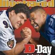 Baltimore Ravens Tony Siragusa And New York Giants Michael Sports Illustrated Cover Art Print