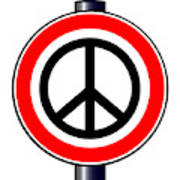 Ban The Bomb Road Sign Art Print