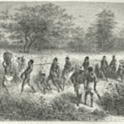 Band Of Captives In The Village Of Mbame Art Print