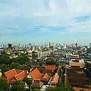 Bangkok View With Temple Roofs 2 Art Print