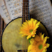 Banjo And Two Sunflowers Art Print