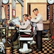 Barber Getting Haircut Art Print
