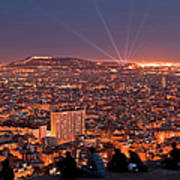 Barcelona At Night With People Art Print