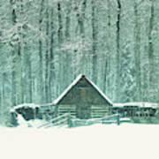 Barn In Snowfall Art Print