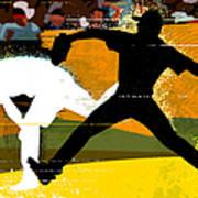 Baseball Pitcher Throwing Baseball Art Print