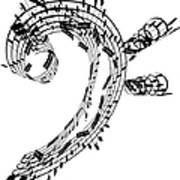 Bass Clef Made Of Music Notes Art Print