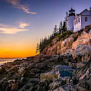 Bass Harbor Lighthouse At Sunset, In Art Print