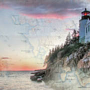 Bass Harbor Lighthouse On A Chart Art Print