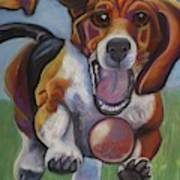 Beagle Chasing Ball Art Print