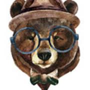 Bear Head Watercolor Art Print
