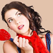 Beautiful Pinup Girl Holding Candy. Sweet Heart Art Print