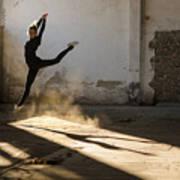 Beautiful Young Ballerina Dancing In Art Print