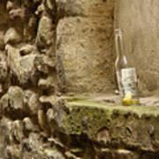 beer bottle left in old lane in Edinburgh Art Print