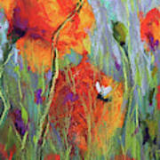 Bees And Poppies Art Print