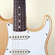 Beige Wood Textured Electric Guitar Art Print