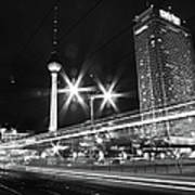 Berlin Alexanderplatz At Night Art Print
