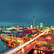 Berlin City At Night Art Print