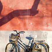 Bicycle Against Red Wall Art Print