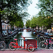 Bicycles Parked On Bridge Over Art Print
