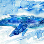 Big Blue Whale And Water.watercolor Art Print