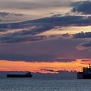 Big Boat Silhouettes Art Print