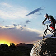 Bike Rider Balancing On Rock Boulder Art Print
