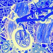 Biking Blue Art Print